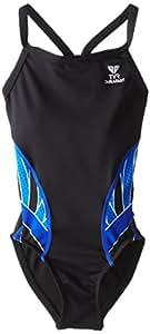 TYR SPORT Girl's Phoenix Splice Diamondfit Swimsuit, Black/Blue, Size 22