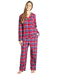 everdream 睡衣女式法兰绒睡衣长100% 棉质睡衣套装