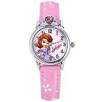 Disney 迪士尼 儿童手表女孩学生卡通表夜光皮带腕表女童石英表粉色
