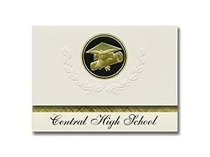 标志性公告中高中(巴顿卢格,拉州)毕业公告,总统风格,25 个帽子精英包和证书印章。 黑色和金色。
