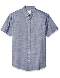 Levi's 男式 Brato 短袖,经典款,纯色梭织衬衫