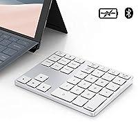 蓝牙数字键盘适用于 Surface Pro,35 键铝制无线数字键盘双系统可充电超静音外部数字键盘适用于 MacBook/MacBook Pro/Air 和 Windows 笔记本电脑