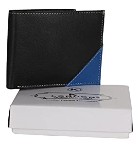 K London Artificial Leather Black & Blue Stylish Exclusive Classy Wallet for Men-1413_blkblue