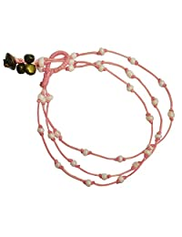BDJ 手工三排甜蜜粉色玻璃珠脚链 25.4cm (AkSP02)