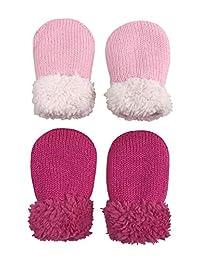 N'Ice Caps 婴儿和学步儿童易穿羊绒内衬针织弹力手套 - 2 双装