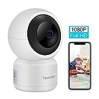 Tovendor 1080P 家庭*摄像头,2.4GHz WiFi IP 摄像头,适用于婴儿/老人/宠物,双向音频夜视,带 TF 卡槽和云服务