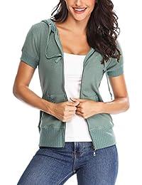 MISS MOLY 女式连帽衫拉链夹克短袖轻质夏季休闲运动衫外套
