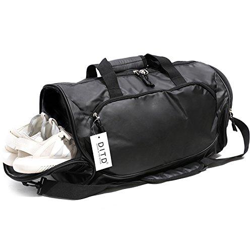 DITDフィットネスバッグメンズスポーツバッグトレーニングバッグダッフルバッグ短距離トラベルバッグポータブルヨガバッグ女性のショルダーバッグ搭乗バッグ乾湿分離独立した靴黒YC 339
