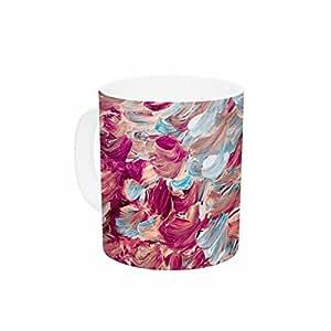 "KESS InHouse Ebi Emporium ""磨砂羽毛,红绿色""红蓝色绘画陶瓷咖啡杯,311.84 毫升,多色"