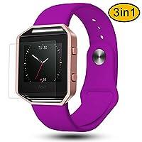 """适用于 Fitbit blaze 戒指, greatgo 软硅胶替换腕带,黑色框架和屏幕保护3合1适用于 Fitbit blaze 智能健身手表 Silicone Purple S(5.7""""-7.5"""")"""