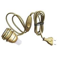Tibelec 859510 - E27 水瓶燈適配器帶插頭 + 開關 - 金色
