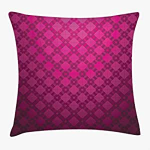 Magenta Decor Throw Pillow Cushion Cover by Ambesonne, Medieval Period Textured Damask Geometric Linked British Nostalgic Display , Decorative Square Accent Pillow Case, 20 X 20 Inches, Wine Purple