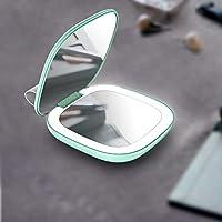 充电便携式迷你LED化妆镜双面补光美妆镜带灯可折叠随身发光便携梳妆镜出差旅行 (青柠绿)