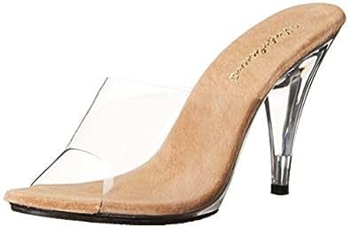Pleaser Women's Caress-401 Sandal Clear Tan/Clear 8 B(M) US