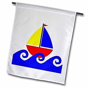 Janna Salak 设计印花和图案 - 小男孩可爱蓝色红色黄色帆船 - 旗帜 12 x 18 inch Garden Flag fl_15412_1