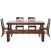 百伽 Best selling 越南原装进口实木餐桌椅组合餐厅家具1.8米一桌四椅一凳zh00406 棕色