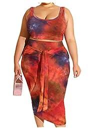 性感加大码两件套 - 花卉印花背心 + 束腰夏季紧身长裙裙套装