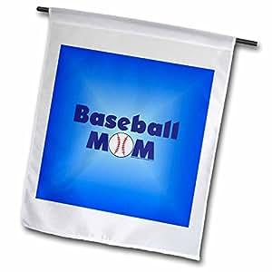 deniska 设计棒球–baseball Mom 蓝–旗帜 12 x 18 inch Garden Flag