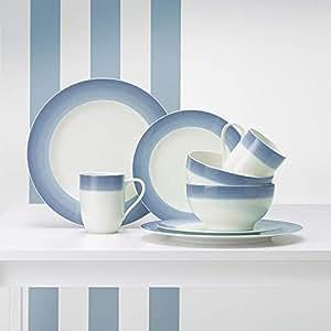 Villeroy&Boch 唯宝 溢彩人生系列餐具套装 4件套 (共两套) 冬日蓝(亚马逊自营商品, 由供应商配送)