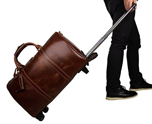 紳士ヨーロッパとアメリカの革長距離トロリー旅行バッグプル大容量の荷物袋狂気の馬革男バッグ7077L箱