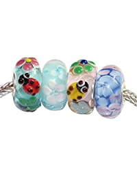 Beads Hunter 925 纯银红色花园瓢虫玻璃珠适合欧洲手链