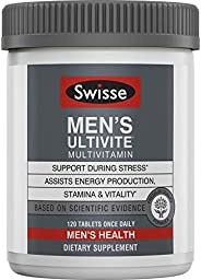 Swisse Premium Ultivite 男性每日復合維生素| 富含抗氧化劑和礦物質| 維生素A,維生素C,維生素D,生物素,鈣,鋅等| 120片