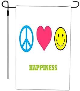 Rikki Knight 和平爱幸福设计装饰房屋或花园全出血旗帜,30.48 x 45.72 厘米