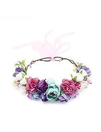 Glamulice 女童复古花卉连衣裙休闲棉质露背肩带沙滩花朵夏季连衣裙