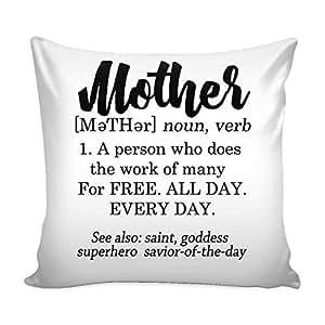 "Tessa Mae Designs 趣味枕套,母亲的定义图案 白色 18""x18"" TMDMotherCursivePillow"