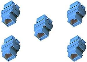 C&E Keystone Cat5e RJ45 Jack, Blue, 5-Pack (CNE439957)