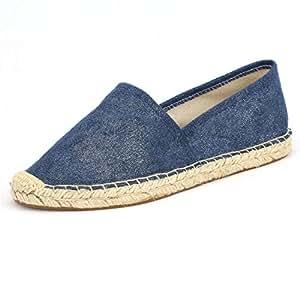 女式帆布平底鞋,适合女士,一脚蹬帆布乐福鞋运动鞋鞋,*蓝,棕褐色,玫瑰金银红色女士帆布/人造革帆布帆布/仿麂皮帆布鞋 Faux-suede Fabric/Navy 10 M US DIIG
