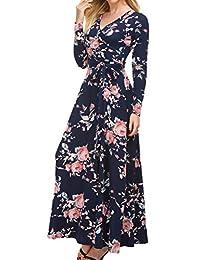 Simier Fariry 女式长袖休闲宽松飘逸花卉印花大摆礼服