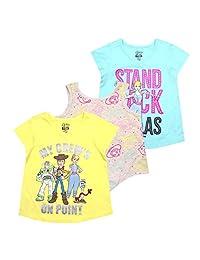 Disney 迪士尼女孩 3 件装 T 恤:多种多样,包括米妮、冰雪奇缘、公主、Moana