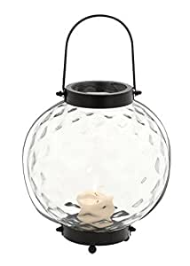 Deco 79 Metal Glass Lantern, 12 by 12-Inch