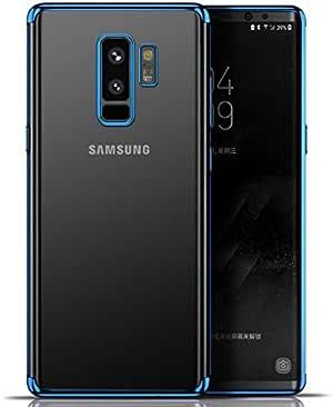 IHC 三星 Galaxy S9 手机壳,超薄水晶透明柔软 TPU 手机壳【支持无线充电】三星 Galaxy S9 5.8 英寸(2018 年上市) 蓝色