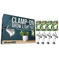 Miracle LED 602991 超全光谱日光白色高替换 150W 夹具和在任何地方生长(4 件装)夹式LED生长灯套件