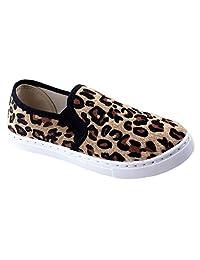 Anna 女士休闲舒适一脚蹬绗缝时尚运动鞋 豹纹色 8.5 M US