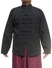 RaanPahMuang 中式立领肚脐棉夹克多排扣  黑色 Large