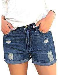 Vetinee 女式中腰磨边破破洞牛仔短裤