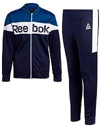 Reebok 锐步男孩 2 件套运动罗纹运动套装,带拉链夹克和慢跑裤