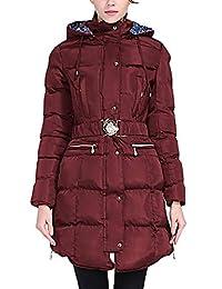Happy Sailed 女士冬季保暖棉绗缝修身休闲外套连帽长羽绒服 M-XXL