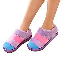 FOYAGE 彩条爆款加厚 长毛绒 包跟 棉鞋 月子鞋加厚吹气底 棉拖鞋 (270(适合39-40的脚), 紫色)