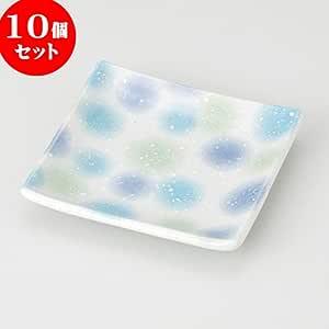 10个一组蓝色化妆 方形碟子 [ 9.8 x 9.8 x 1.5cm 132g ] 【小碟子 】 【 日式*馆 旅馆 日式餐具 餐饮店 业务用 可爱 】