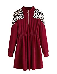 MAKEMECHIC 女式拼色拉鏈抽繩腰部防風夾克連衣裙,帶口袋
