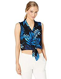 亚马逊品牌 - 28 Palms 女式宽松丝绸/人造丝前系带夏威夷露脐上衣