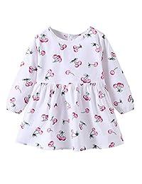 幼童女婴秋季连衣裙樱桃长袖裙套装