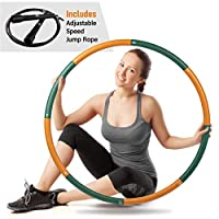 Ryno Tuff 成人呼啦圈 – 2磅(约2.7公斤)加重呼啦圈带超厚泡沫垫、手提袋和免费附送跳绳 – 加重草箍适用于锻炼,8个可拆卸的部分,方便存放