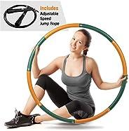 Ryno Tuff 成人呼啦圈 – 2磅(約2.7公斤)加重呼啦圈帶超厚泡沫墊、手提袋和免費附送跳繩 – 加重草箍適用于鍛煉,8個可拆卸的部分,方便存放