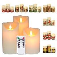 GenSwin 电池无焰蜡烛闪烁 10 键遥控定时器,真正的蜡柱 LED 移动蜡烛,7 种不同的节日袖子,万圣节圣诞节装饰(3 x 4 ,5 ,6 英寸)