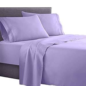 Clara Clark Supreme 1500 系列 4 件套床单套装 紫色(Lavender) King Size woot_15_sht-k-lavendr
